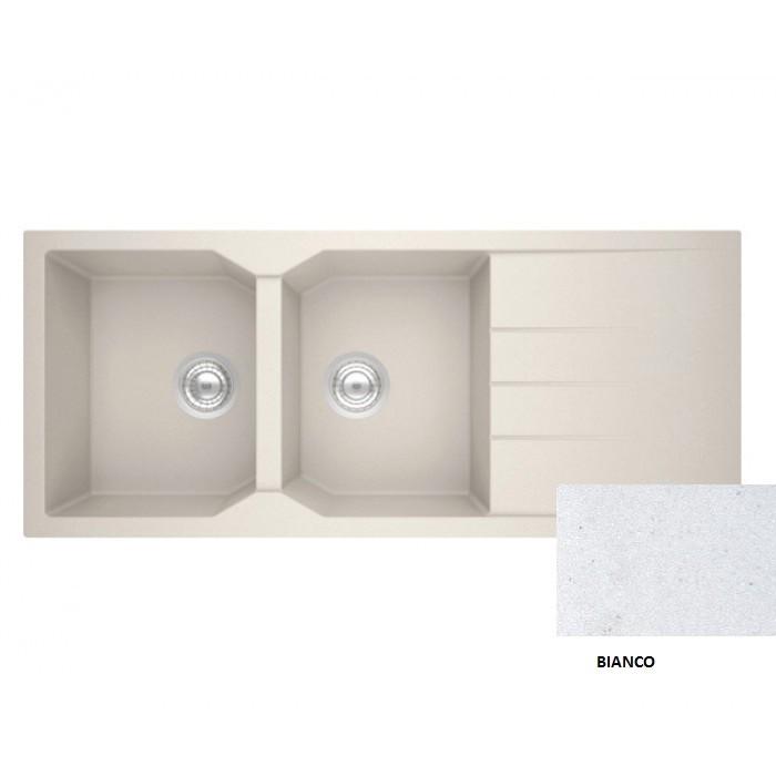 Sanitec Granite 800 Bianco Ένθετος Νεροχύτης 116 2B 1D