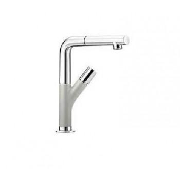 Blanco Yovis-S Metallic SILGRANIT®-Look Pearl Grey-Chrome Μπαταρία Κουζίνας με Περιστρεφόμενο Ρουξούνι και Αποσπώμενο Ντους