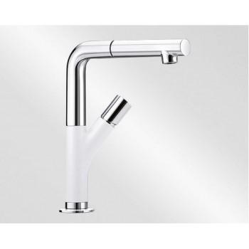 Blanco Yovis-S Metallic SILGRANIT®-Look White-Chrome Μπαταρία Κουζίνας με Περιστρεφόμενο Ρουξούνι και Αποσπώμενο Ντους