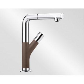 Blanco Yovis-S Metallic SILGRANIT®-Look Coffee-Chrome Μπαταρία Κουζίνας με Περιστρεφόμενο Ρουξούνι και Αποσπώμενο Ντους