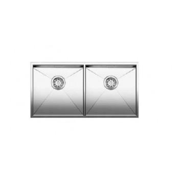 Blanco Zerox 400/400-U Inox Λείος Νεροχύτης Υποκαθήμενος με 2 Γούρνες 86,5x44 cm
