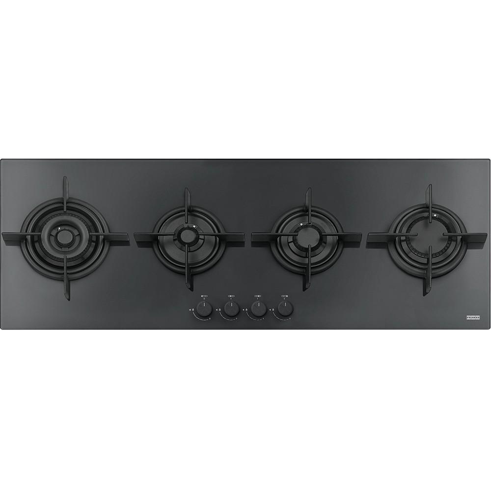franke Crystal Plus Black FHCR 1204 3G TC HE BK C Μαύρο Κρύσταλλο Εστία Αερίου 120cm