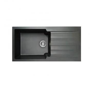 Duralit KS105 Negro Grafito Ένθετος Συνθετικός Νεροχύτης Αντιστρεφόμενος Με 1 Γούρνα και Ποδιά 100x50 cm