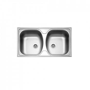 Fortinox Slender 24200 Ανοξείδωτος Λείος Ένθετος Νεροχύτης Με 2 Γούρνες 78,5x44,5 cm