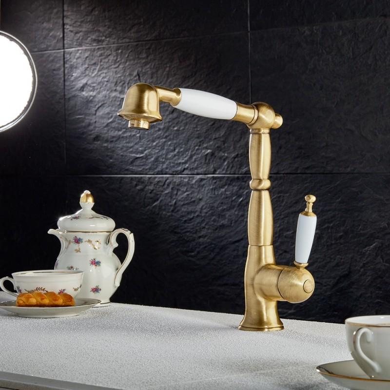 Bugnatese Oxford 6388-220 Μπαταρία Κουζίνας Bronze/Λευκή Με Περιστρεφόμενο Ρουξούνι Με Αποσπώμενο Τηλέφωνο & Άθραυστο Σπιράλ