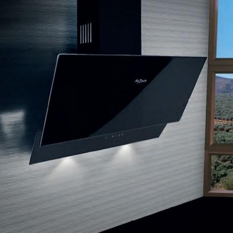 AirTech Ticino Απορροφητήρας Επίτοιχος Inox Με Μαύρο Κρύσταλλο Securit 60 cm