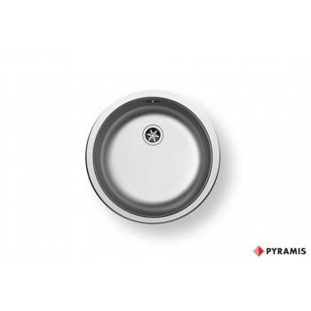 Pyramis CR Ανοξείδωτος Ένθετος Νεροχύτης Στρογγυλός Γυαλισμένος Με 1 Γούρνα ∅45 cm
