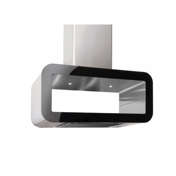 Pyramis Corso Elegant Απορροφητήρας Νησίδας (Οροφής) Inox-Μαύρο Γυαλί 90 cm