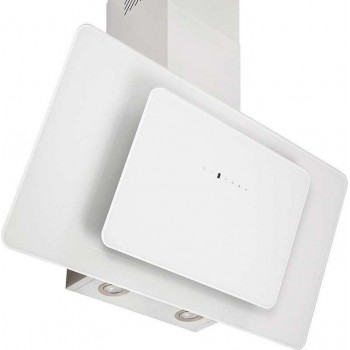 Pyramis Fiero Premium Λευκός Απορροφητήρας Επίτοιχος Inox-Λευκό Γυαλί 90 cm