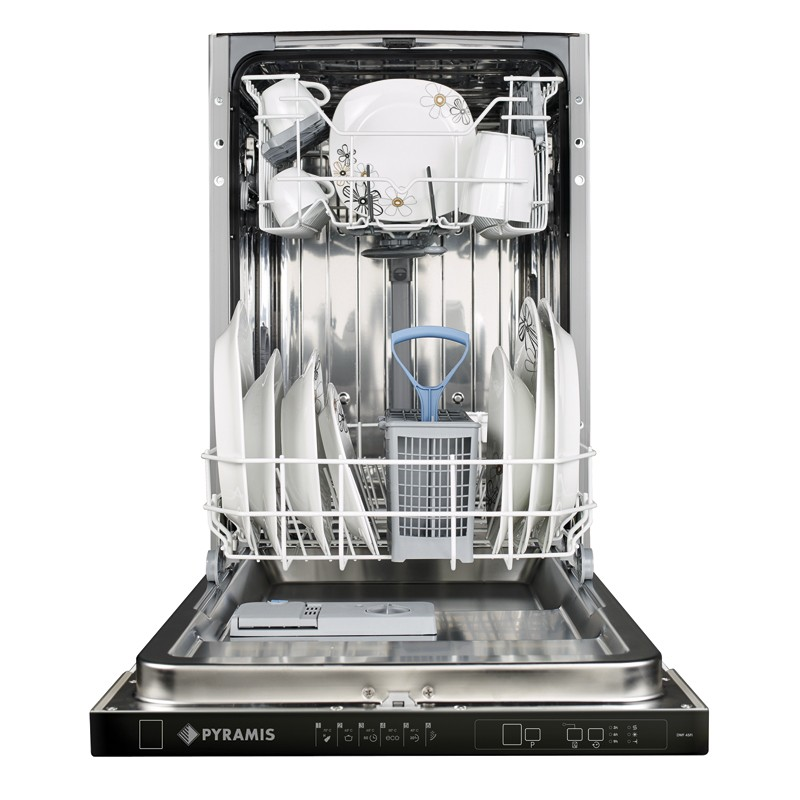 Pyramis DWF 45FI Εντοιχιζόμενο Πλυντήριο Πιάτων με Μαύρο Ταμπλό 45 cm