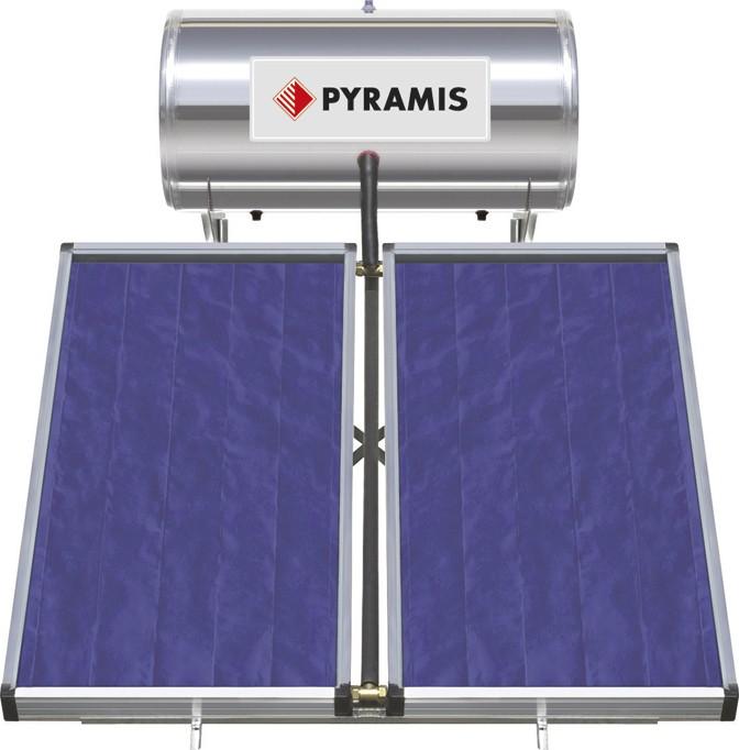 Pyramis Ηλιακός Θερμοσίφωνας Τριπλής Ενέργειας 200Lt/3m2 με 2 Επιλεκτικούς Συλλέκτες
