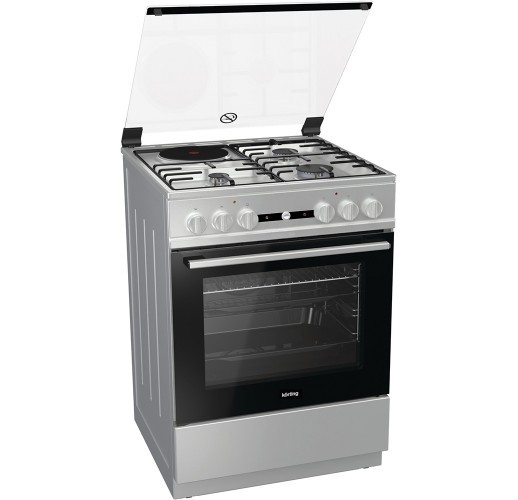 Korting KK6141XD 734817 Inox Κουζίνα Μικτή Γκαζιού Ελεύθερη 61Lt 60x60x85cm με 9 προγράμματα λειτουργίας