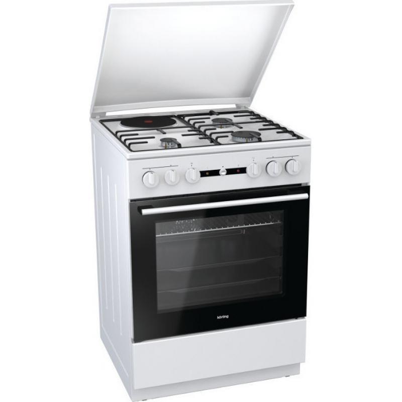 Korting KK64W 728462 Λευκή Κουζίνα Μικτή Γκαζιού Ελεύθερη 61Lt 60x60x85cm με 9 προγράμματα λειτουργίας