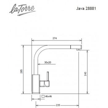 Carron Phoenix by La Torre Java 28881-100 Μπαταρία Κουζίνας Χρωμέ Με Υψηλό Περιστρεφόμενο Ρουξούνι