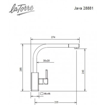 Carron Phoenix by La Torre Java 28881 Granite Graphite Μπαταρία Κουζίνας Υψηλή Με Ντους