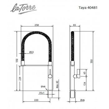 Carron Taya Spring 40481 Χρώμιο Μπαταρία Κουζίνας