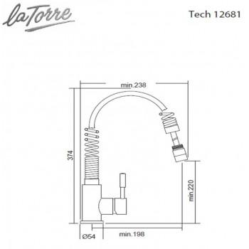 Carron Phoenix by La Torre Tech Spring 12681-100 Μπαταρία Κουζίνας Ελατηρίου Χρωμέ Με Συρόμενο Ντους