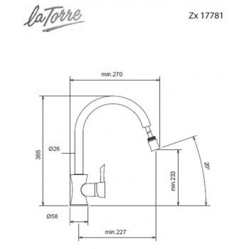 Carron Phoenix by La Torre ZX 17781-100 Μπαταρία Κουζίνας Χρωμέ Με Υψηλό Περιστρεφόμενο Ρουξούνι και Συρόμενο Ντους