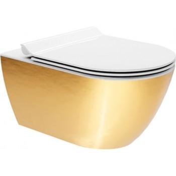 GSI Pura Swirl Gold 881500SC-200300 Λεκάνη Κρεμαστή 55cm με κάλυμμα Slim Soft Close αποσπώμενο λευκό με χρυσούς μεντεσέδες
