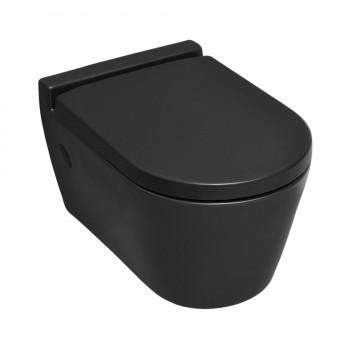 Serel Sapphire SP1000C-401 Black Matt Hygiene Plus Λεκάνη Κρεμαστή 52cm με κάλυμμα βακελίτη Soft Close αποσπώμενο