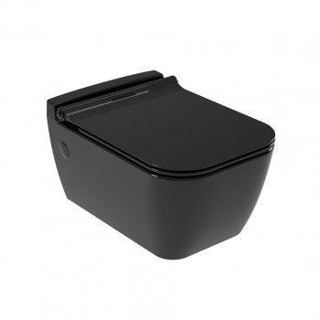 Serel Rita RT1000SC-400 Μαύρο Γυαλιστερό Hygiene Plus Λεκάνη Κρεμαστή 52cm με κάλυμμα βακελίτη Slim Soft Close αποσπώμενο
