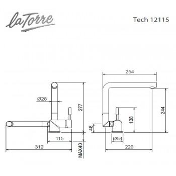 Carron Phoenix by La Torre Tech 12115-100 Μπαταρία Κουζίνας Χρωμέ Με Περιστρεφόμενο/Ανακλινόμενο Ρουξούνι