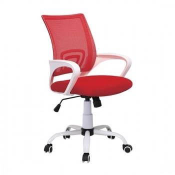 Καθίσματα Γραφείου BS1850-W Λευκό/Κόκκινο Mesh Πολυθρόνα Γραφείου