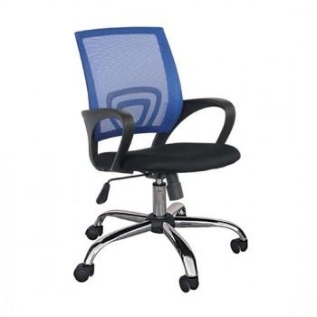 Καθίσματα Γραφείου BS1850 Χρώμιο/Μπλε Mesh Πολυθρόνα Γραφείου