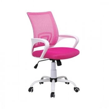Καθίσματα Γραφείου BS1850-W Λευκό/Ροζ Mesh Πολυθρόνα Γραφείου