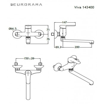Eurorama Viva 143400-100 Μπαταρία Κουζίνας Τοίχου Χρωμέ Mε Περιστρεφόμενο Ρουξούνι Κάτω Ροής