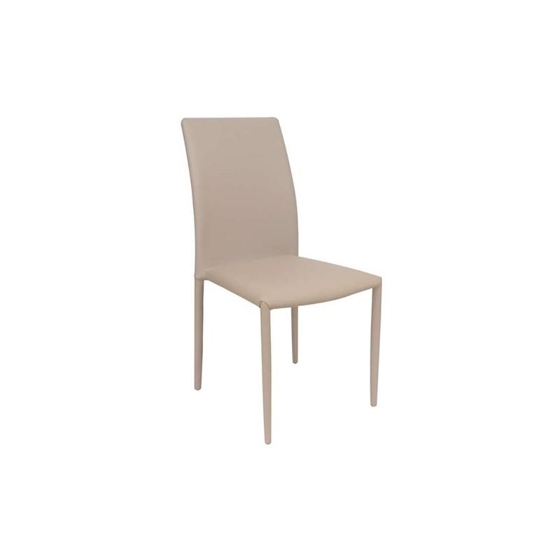Καρέκλα τραπεζαρίας Asley Καπουτσίνο (Σ6) Δερματίνη Χρωμίου 44Χ53Χ90 εκ.