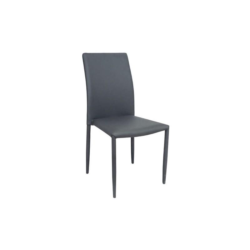 Καρέκλα τραπεζαρίας Asley Γκρι (Σ6) Δερματίνη Χρωμίου 44Χ53Χ90 εκ.