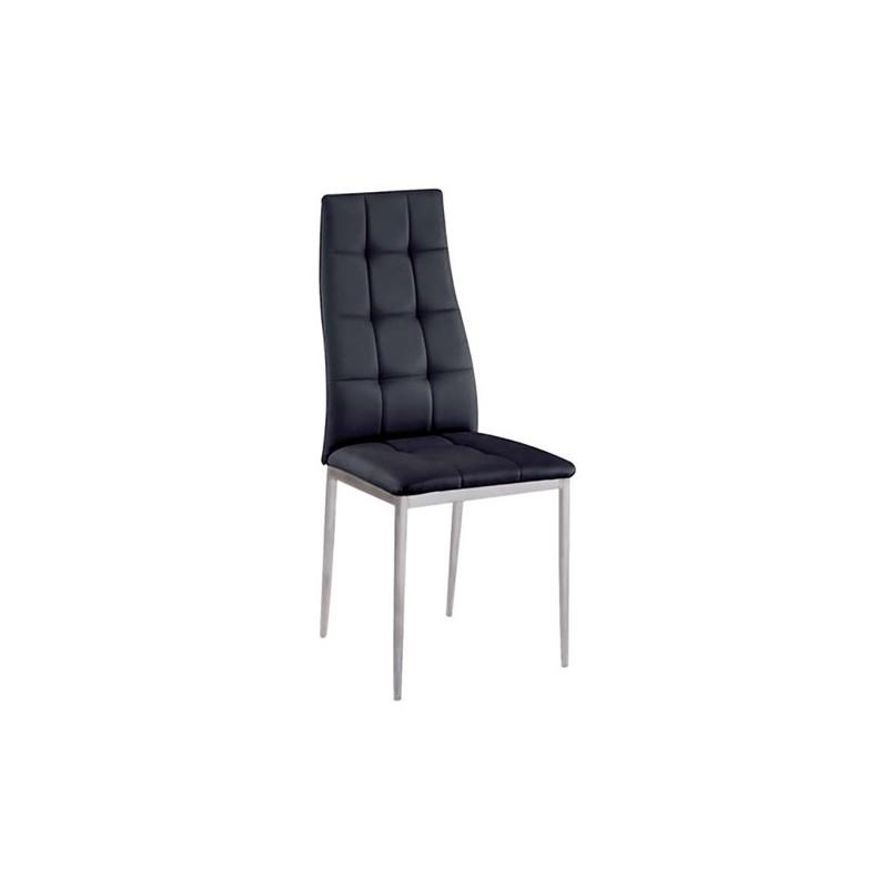 Καρέκλα τραπεζαρίας Rebeka Μαύρη Βαφής (Σ6) PU Μεταλλική 41Χ50Χ97 εκ.