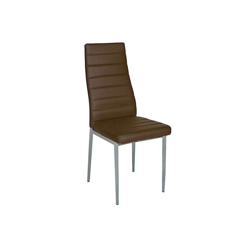 Καρέκλα τραπεζαρίας Aliana Καφέ Βαφής (Σ6) PU Μεταλλική 42X50X95 εκ.