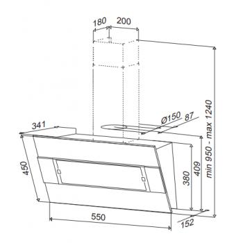 Best Iris FPX 55cm Inox-Μαύρο Μέταλλο Επιτοίχιος Απορροφητήρας