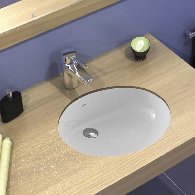 Serel 0551 Λευκός Hygiene Plus Πορσελάνινος Νιπτήρας Μπάνιου Υποκαθήμενος 47x35,5 cm