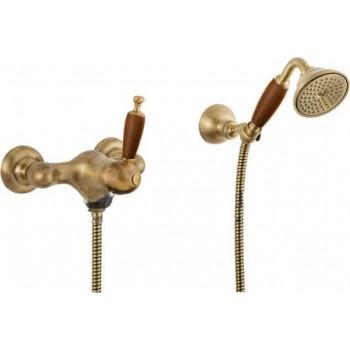 Bugnatese Oxford 6338 Bronze/Ξύλο Μπαταρία Ντουζιέρας με Tηλέφωνο, Eπίτοιχο Στήριγμα Τηλεφώνου και Άθραυστο Σπιράλ 1,5 μ