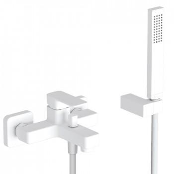 Eurorama Quadra 144210 White Matt Μπαταρία Λουτρού Με Tηλέφωνο Anticalcare, Eπίτοιχο Στήριγμα Tηλεφώνο & PVC Σπιράλ