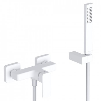 Eurorama Quadra 144150 White Matt Μπαταρία Ντουζιέρας με Tηλέφωνο Anticalcare, Eπίτοιχο Στήριγμα Τηλεφώνου και PVC Σπιράλ 1,5 μ