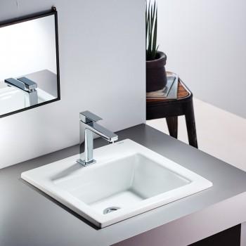 Serel 3014 Λευκός Hygiene Plus Πορσελάνινος Νιπτήρας Μπάνιου Ένθετος 42x42 cm