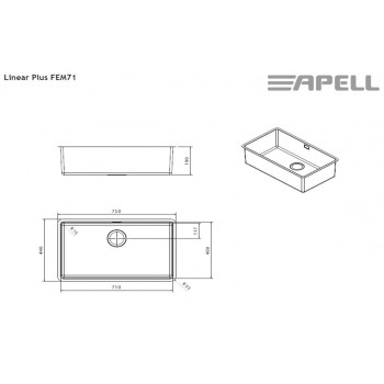 Apell Linear Plus FEM71 Ανοξείδωτος Λείος Υποκαθήμενος Νεροχύτης Με 1 Γούρνα 75x44 cm