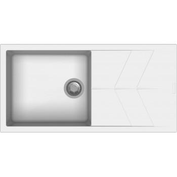 Macart Status D-100 L Ένθετος η Υποένθετος Γρανιτένιος Νεροχύτης Alphina (Λευκό)