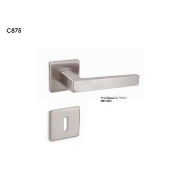 Conset C875 Ανοξείδωτο Πόμολο Πόρτας Ασφαλείας-Ροζέτα (Ζεύγος)