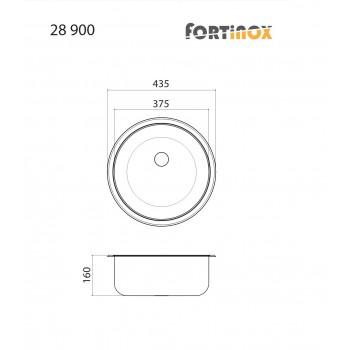 Fortinox Valley 28900 Ανοξείδωτος Λείος Ένθετος Νεροχύτης Στρογγυλός Με 1 Γούρνα Ø43,5 cm
