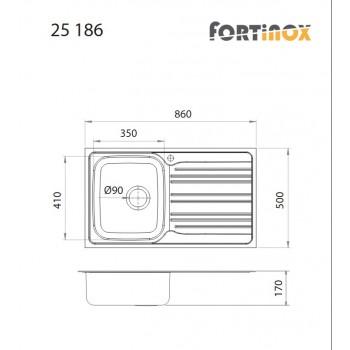 Fortinox Valley 25186 Ανοξείδωτος Σαγρέ Ένθετος Νεροχύτης Αντιστρεφόμενος Με 1 Γούρνα και Ποδιά 86x50 cm