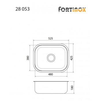 Fortinox Valley 28053 Ανοξείδωτος Λείος Υποκαθήμενος Νεροχύτης Με 1 Γούρνα 52,5x42,5 cm