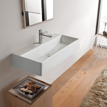 Serel Tetra 2048 Hygiene Plus Λευκός Πορσελάνινος Νιπτήρας Μπάνιου Κρεμαστός ή Επιτραπέζιος 80x35 cm