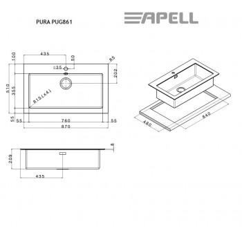 Apell Pura PUG861 Ανοξείδωτος Λείος Ένθετος Νεροχύτης Με Μαύρο Κρύσταλλο και 1 Γούρνα 87x51 cm