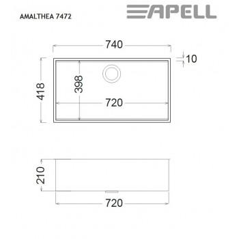 Apell Amalthea 7472 Ανοξείδωτος Λείος Υποκαθήμενος Νεροχύτης  Με 1 Γούρνα 74x41,8 cm
