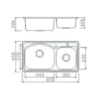 Geman 33150036 Ανοξείδωτος Ένθετος Νεροχύτης 85 cm